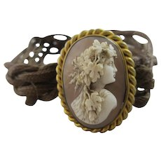 Real Shell Cameo in Pinchbeck Braided Mourning Hair Bracelet Antique Georgian c1820.
