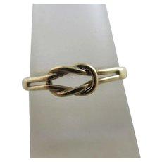 Lovers Knot 9k Gold Ring Antique Edwardian c1910.