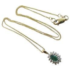 Real Emerald Diamond 9k Gold Pendant Necklace Vintage c1980.