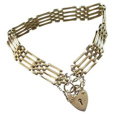 4 Bar Gate Bracelet Heart Padlock Clasp Vintage English 1986.