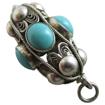 Turquoise in Sterling Silver Pendant Vintage Art Deco c1920.