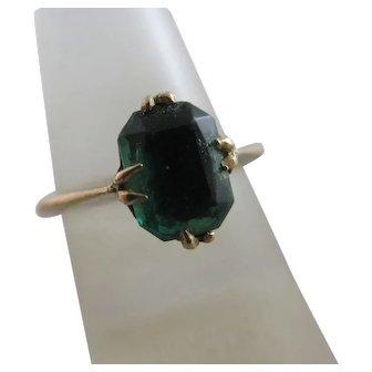 Emerald Green Paste 9k Gold Ring Vintage Art Deco c1920.
