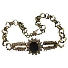 Large Sapphire Diamond 9k Gold Bracelet Antique Victorian c1890.
