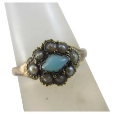 Turquoise Seed Pearl 15k Gold Ring Antique Victorian c1860.