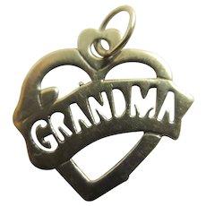 Grandma Heart 9k Gold Pendant Charm Vintage c1970.