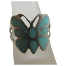Turquoise Enamel Sterling Silver Butterfly Ring Vintage c1970.