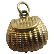 Fishing Creel 9k Gold Pendant Charm Vintage 1966 English Hallmark.