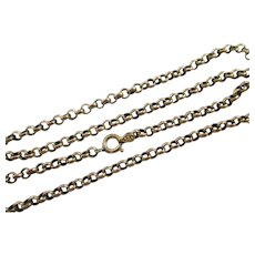 "Cable Link 9k Gold Chain Necklace 46.0cm / 18.1"" Antique Victorian c1890."