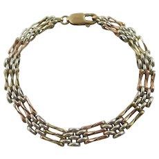 3 Colour 9k Gold 3 Bar Gate Bracelet Vintage c1980.