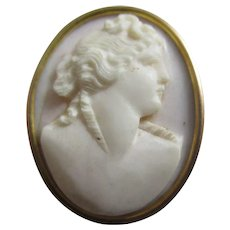 Shell Cameo 9k Gold Brooch Pins Antique Victorian c1860.