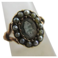 Green Tourmaline Seed Pearl 15k Gold Ring Antique Victorian c1860.