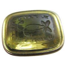 Intaglio Flower Motto Citrine Seal 9k Gold Pendant Fob Antique Victorian c1850.
