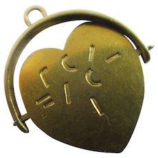 Heart Flip Spinning 9k Gold Pendant Charm Vintage 1960 Chester by Charles Horner.