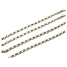"9k Gold Cable Link Chain Necklace 60.0cm / 23.6"" Antique Victorian c1890."