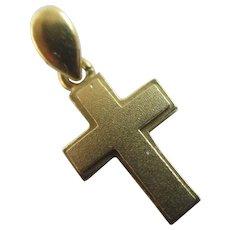 14k Gold Cross Pendant Charm Vintage c1980.