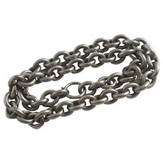 """Chunky Sterling Silver Chain Necklace 46.0cm / 18.1"""" Antique Victorian c1860."""