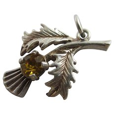 Citrine Paste in Sterling Silver Scottish Thistle Pendant Charm Vintage c1960.