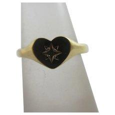 Diamond Heart Signet Child's Ring 9k Gold Vintage English.