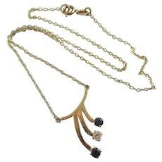 Faux Diamond & Sapphire 9k Gold Pendant Necklace Vintage English c1980.