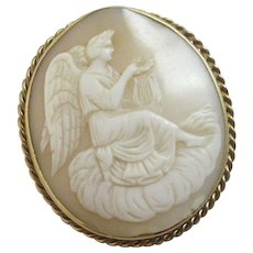 Angel Playing Lyre Harp Shell Cameo 9k Gold Brooch Pin Antique Victorian c1840.