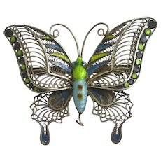 Enamel Butterfly Filigree Sterling Silver Brooch Pin Vintage Art Deco c1920.