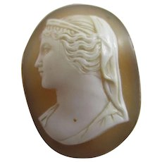 Classical Lady Real Shell Cameo 9k Gold Brooch Pin Antique Victorian c1860.