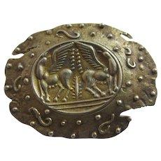 Greek Mythology Pegasus Winged Horse Silver Brooch Pin Vintage Art Deco c1920.