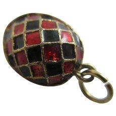 Red & Black Enamel Gilt Metal Egg Pendant Charm Vintage c1950.