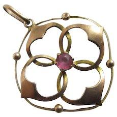 9k Gold Dangling Pendant Lavalier Pink Paste Antique Victorian c1890.