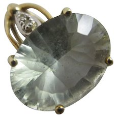 Green Amethyst & Diamond 9k Gold Pendant Vintage English.