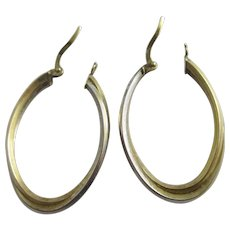 2 Colour 9k Gold Sleeper Hoop Earrings Vintage c1980.