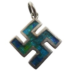 Enamel in Sterling Silver Gammadion Cross Pendant Antique Victorian c1890.