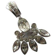 Faux Diamond Sterling Silver Dangling Paste Pendant Vintage Art Deco c1920.