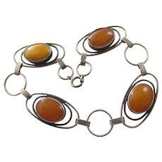 Amber & Silver Bracelet Vintage c1970.
