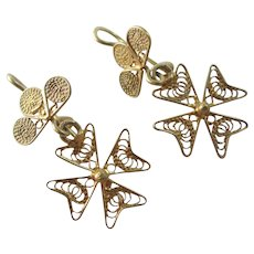 Maltese Cross Dangling Ear Pendant Earrings 18k Gold Antique Victorian c1890.