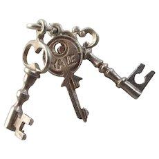 CHIM Door keys Sterling Silver Pendant Charm Vintage c1960.