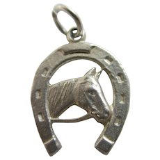 Lucky Horseshoe with Horse Head Sterling Silver Pendant Charm Vintage c1960.