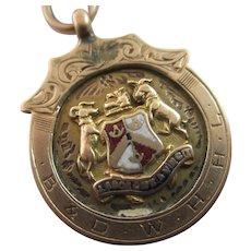 Enamel Shield Pendant Fob Double Albert Watch Chain 9k Gold Antique English Edwardian.