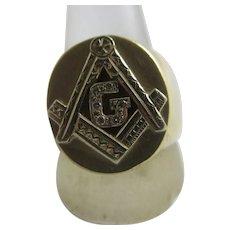 Masonic Diamond 9k Gold Signet Ring Vintage c1980.