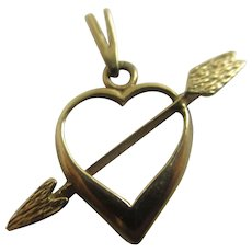 Arrow Through Heart 9k Gold Pendant Vintage English 1981.