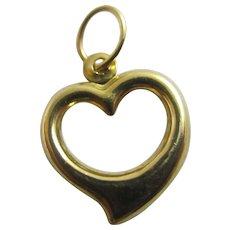 Pierced Witches Heart Pendant Charm 9k Gold Vintage c1970.