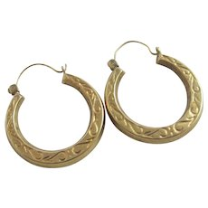 Sleeper Hoop Earrings 9k Gold Vintage c1980.