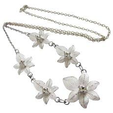 Sterling Silver Filigree Flower Pendant Necklace Vintage c1980.
