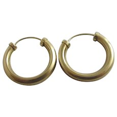 9k Gold Sleeper Hoop Earrings Vintage c1980.