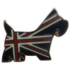 Enamel Union Jack Terrier Dog Cufflinks Vintage c1990.