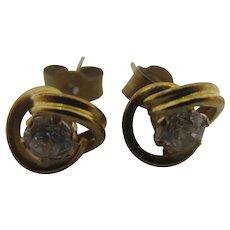Faux Diamond 9k Gold Stud Earrings Vintage c1980.