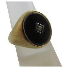 Diamond Black Onyx 9k Gold Signet Ring Vintage English 1966.
