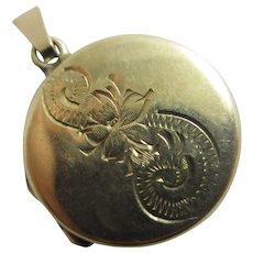 Forget Me Not Flower 9k Gold Back & Front Double Pendant Locket Antique Edwardian c1910.