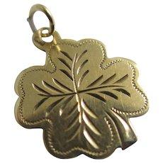 Lucky Shamrock 14k Gold Pendant Charm Vintage Art Deco c1920.