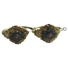 Turquoise & Seed Pearl 14k Gold Cased Sleeper Hoop Earrings Antique Victorian c1890.